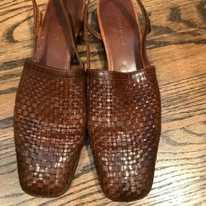 Brown woven leather vintage Sesto Meucci sandals